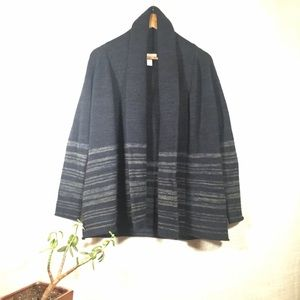 Forever 21 Shawl Collar Open Stripe Sweater